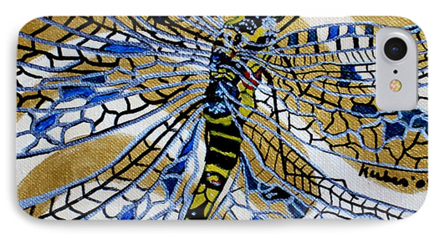 Dragonfly IPhone 7 Case featuring the painting Dragonfly On Gold Scarf by Susan Kubes