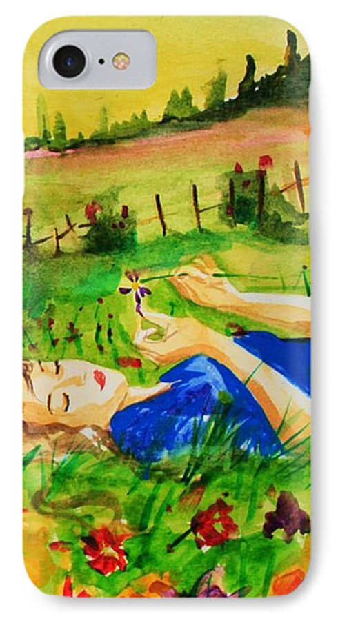 Landscape IPhone 7 Case featuring the painting Dreaming by Laura Rispoli