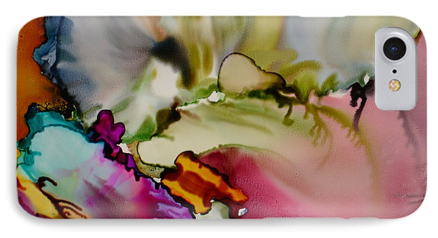 Abstract IPhone 7 Case featuring the painting Dreaming by Susan Kubes