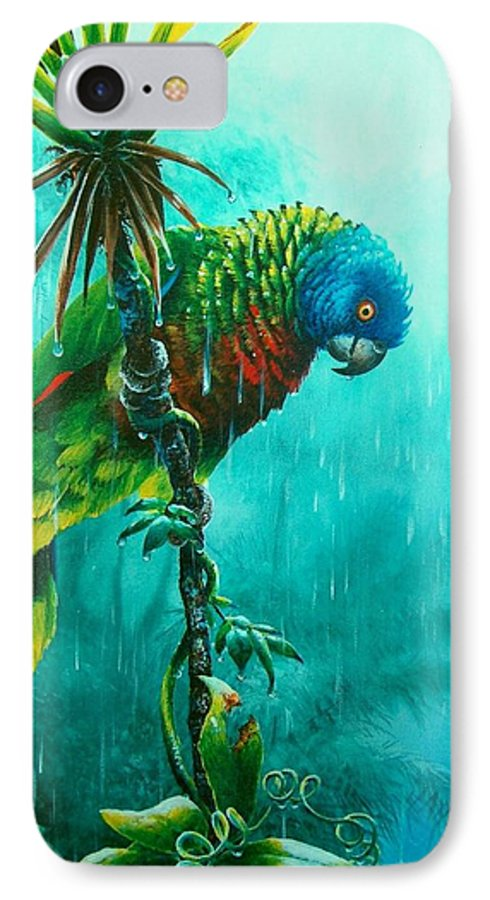 Chris Cox IPhone 7 Case featuring the painting Drenched - St. Lucia Parrot by Christopher Cox