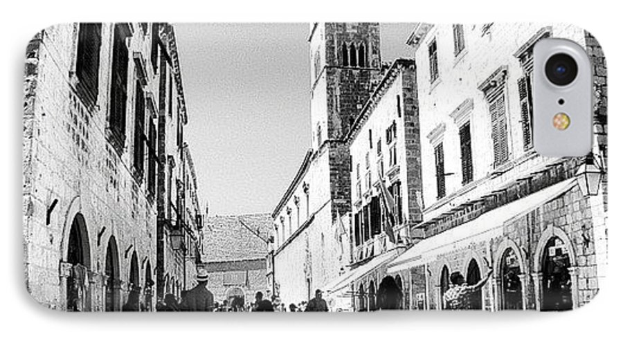 Beautiful IPhone 7 Case featuring the photograph #dubrovnik #b&w #edit by Alan Khalfin