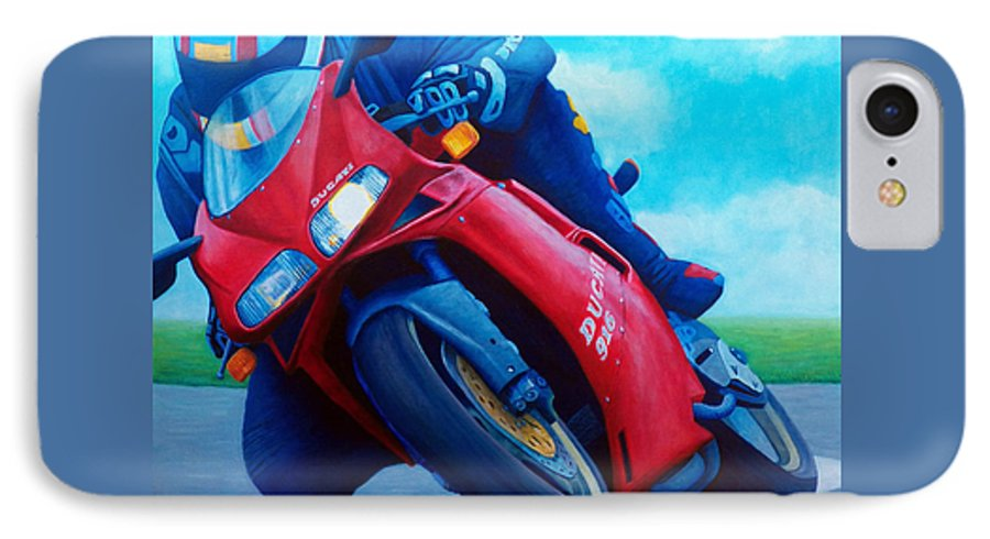 Motorcycle IPhone 7 Case featuring the painting Ducati 916 by Brian Commerford