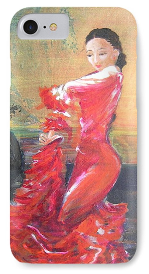 Gypsy Flamenco Dancer. Spanish Dancer IPhone 7 Case featuring the painting Duende by Lizzy Forrester