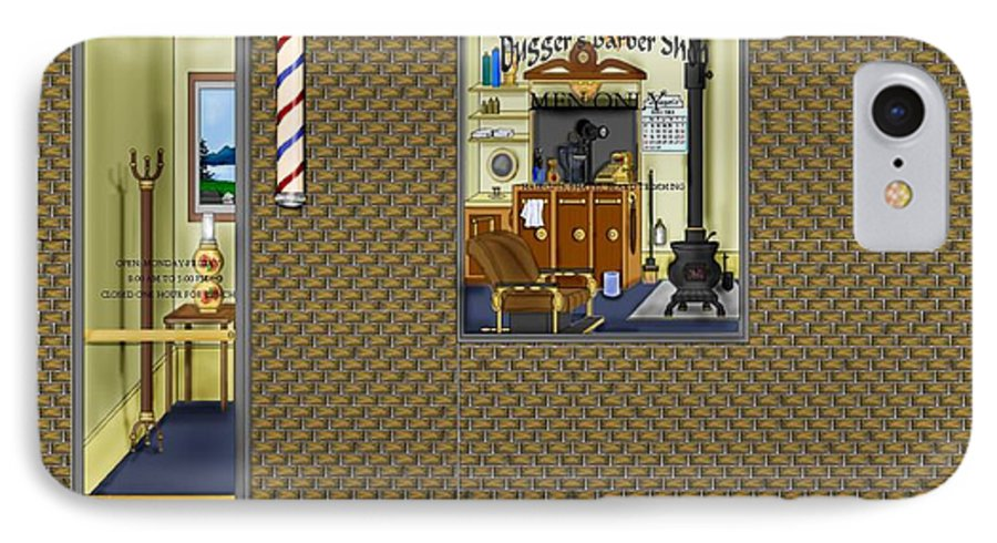 Townscape IPhone 7 Case featuring the painting Dugger's Barber Shop by Anne Norskog