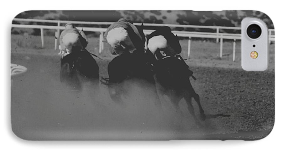 Horse IPhone 7 Case featuring the photograph Dust And Butts by Kathy McClure