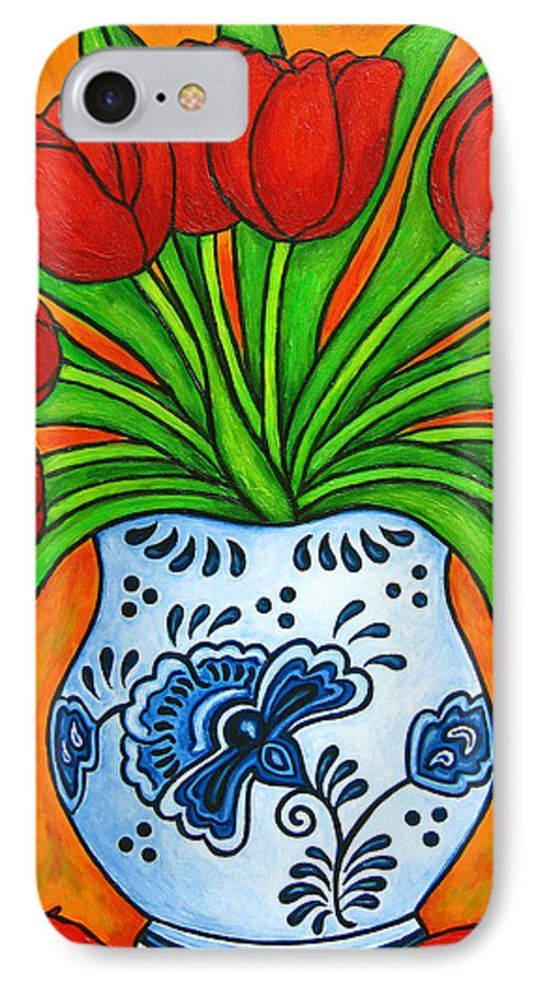 White IPhone 7 Case featuring the painting Dutch Delight by Lisa Lorenz