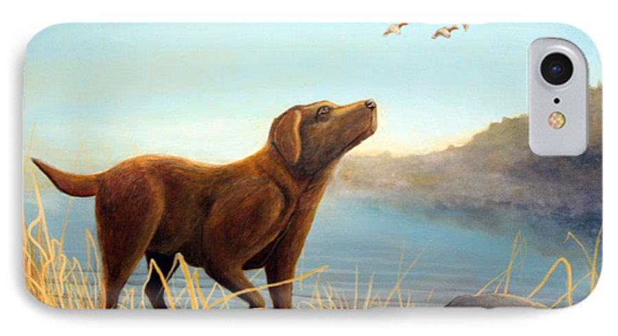 Chocolate Lab Painting IPhone 7 Case featuring the Dutch by Rick Huotari