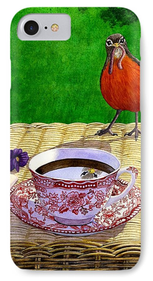 Robin IPhone 7 Case featuring the painting Early Bird by Catherine G McElroy