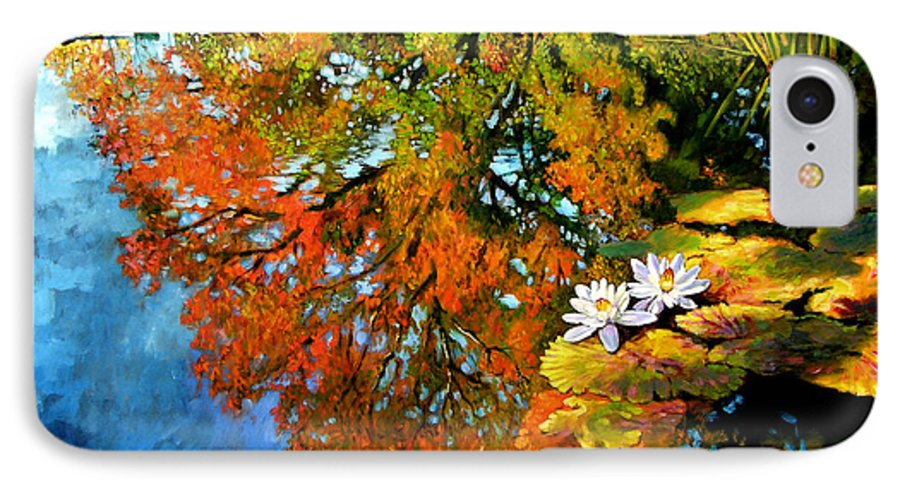 Landscape IPhone 7 Case featuring the painting Early Morning Fall Colors by John Lautermilch
