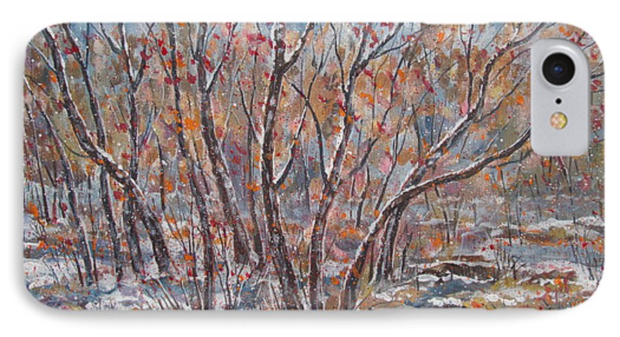 Landscape IPhone 7 Case featuring the painting Early Snow. by Leonard Holland