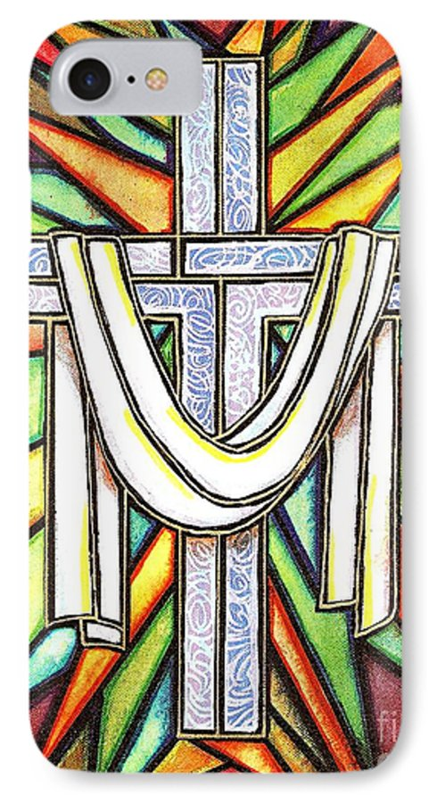 Cross IPhone 7 Case featuring the painting Easter Cross 5 by Jim Harris