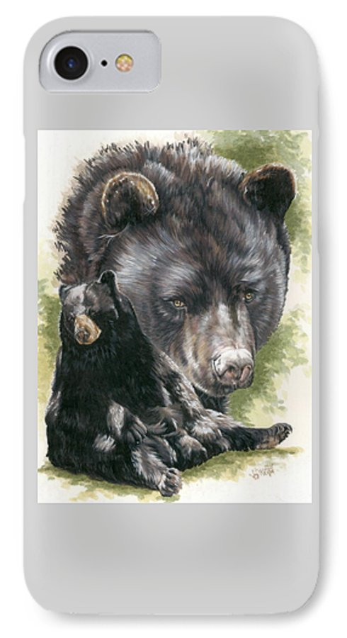 Black Bear IPhone 7 Case featuring the mixed media Ebony by Barbara Keith