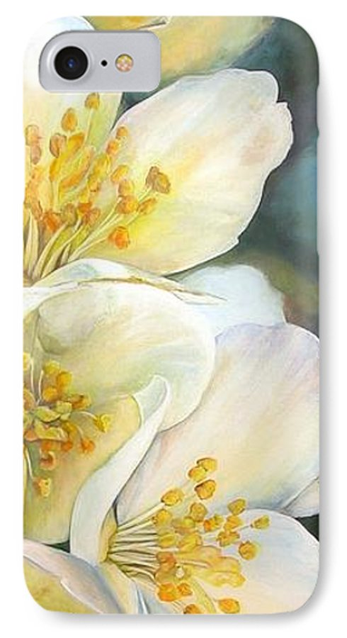 Floral Painting IPhone 7 Case featuring the painting Eglantine by Muriel Dolemieux
