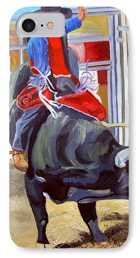 Bull Riding IPhone 7 Case featuring the painting Eight Long Seconds by Michael Lee