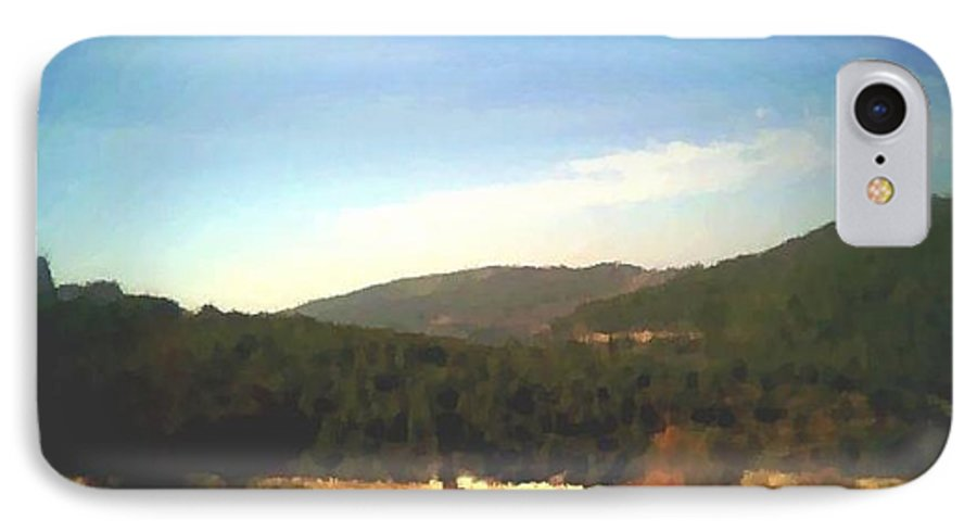 Sky.blue.little Clouds.foresty Hills.low Hills.forest.valley.trees.rest.silence.calm. IPhone 7 Case featuring the digital art Ein-kerem Valley by Dr Loifer Vladimir