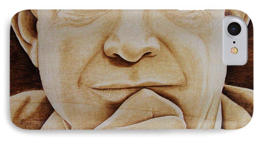 Pyrography; Portrait;; President; Sepia; Human; Eyes; Ears; Eisenhower; Woodburning; Jo Schwartz IPhone 7 Case featuring the pyrography Eisenhower - The Man by Jo Schwartz