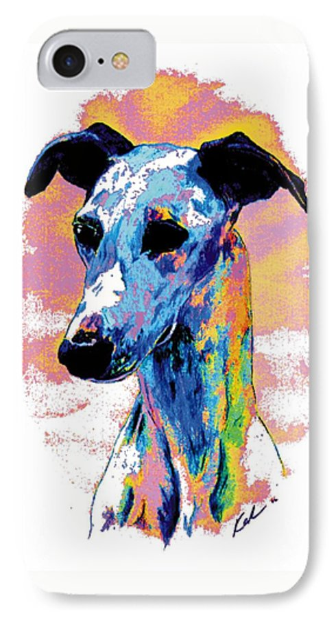 Electric Whippet IPhone 7 Case featuring the digital art Electric Whippet by Kathleen Sepulveda