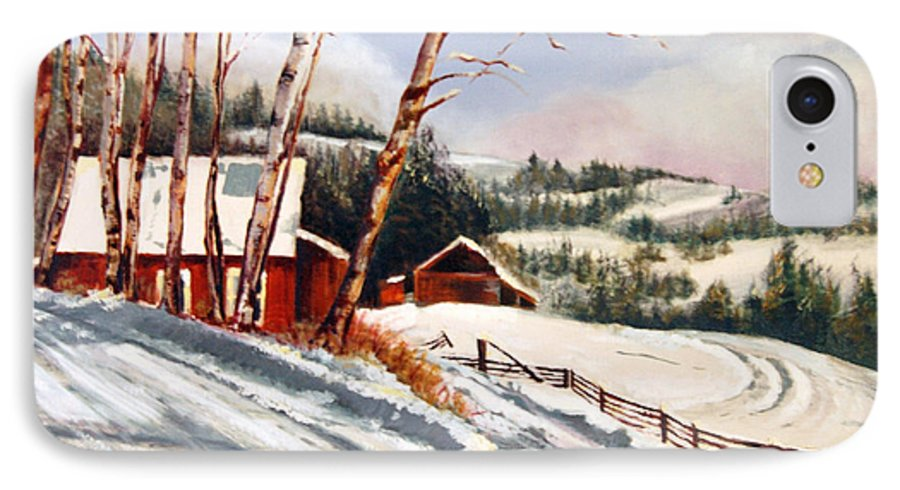 Snow IPhone 7 Case featuring the painting Elephant Mountain Ranch by Susan Moore