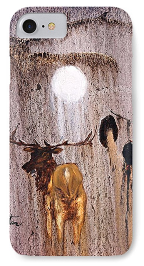 Native Art IPhone 7 Case featuring the painting Elk Spirit by Patrick Trotter