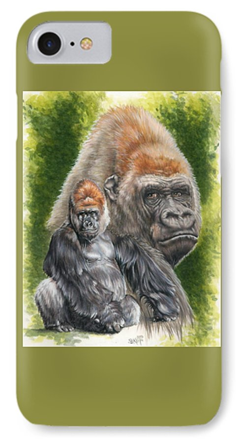 Gorilla IPhone 7 Case featuring the mixed media Eloquent by Barbara Keith