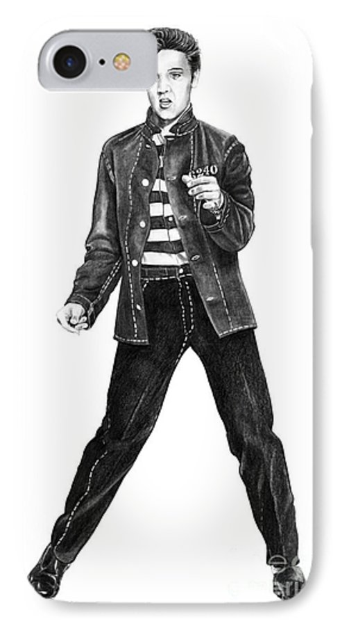 Elvis IPhone 7 Case featuring the drawing Elvis Presley  by Murphy Elliott