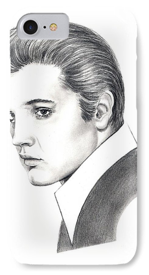 Pencil. Portrait IPhone 7 Case featuring the drawing Elvis Presley by Murphy Elliott