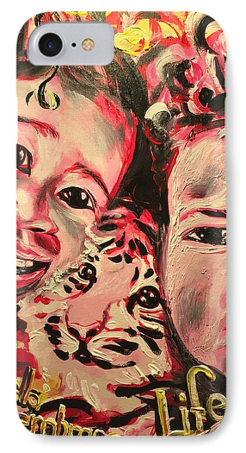 Children IPhone 7 Case featuring the painting Embrace Life by Sean Ivy aka Afro Art Ivy