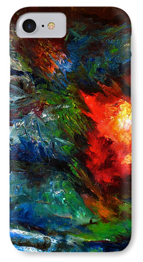 Abstract IPhone 7 Case featuring the painting Embrace by Lou Ewers