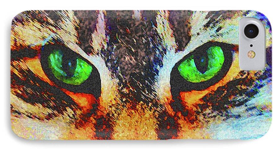 Emerald Gaze IPhone 7 Case featuring the digital art Emerald Gaze by John Beck