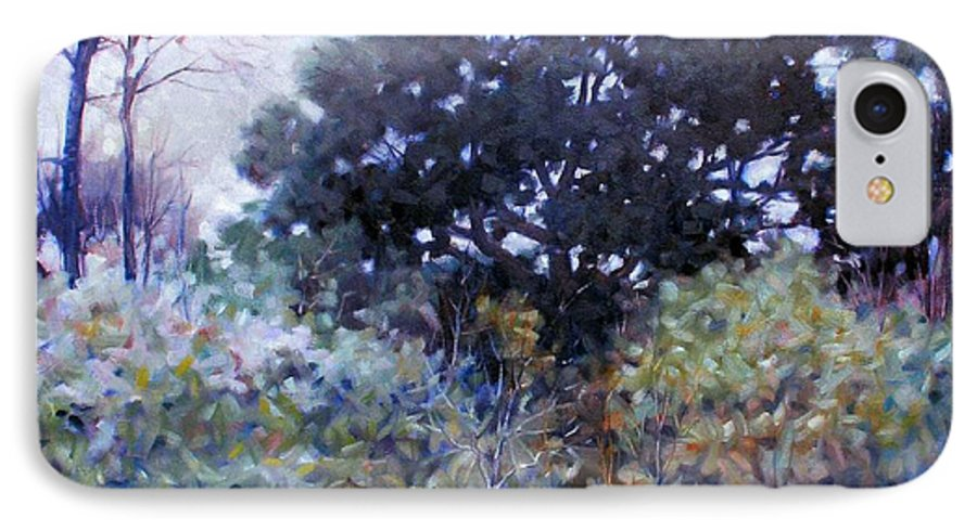 Landscape IPhone 7 Case featuring the painting Empty Lot by Kevin Lawrence Leveque