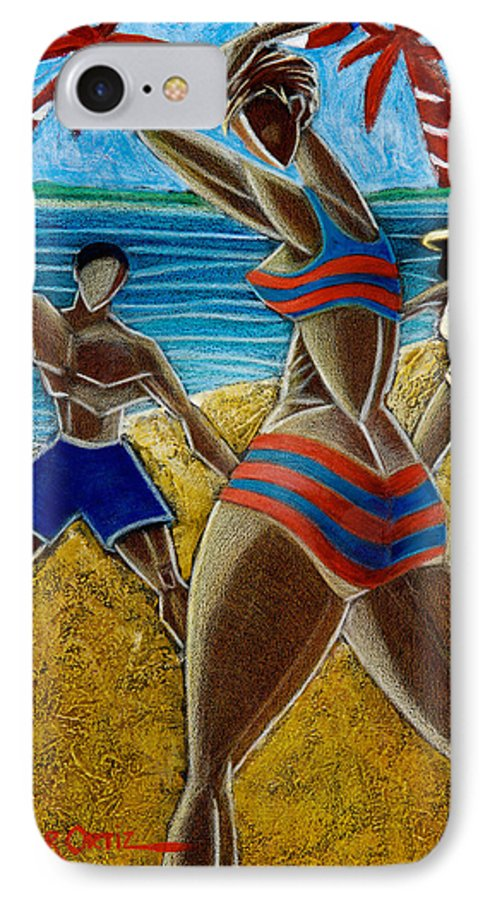Beach IPhone 7 Case featuring the painting En Luquillo Se Goza by Oscar Ortiz