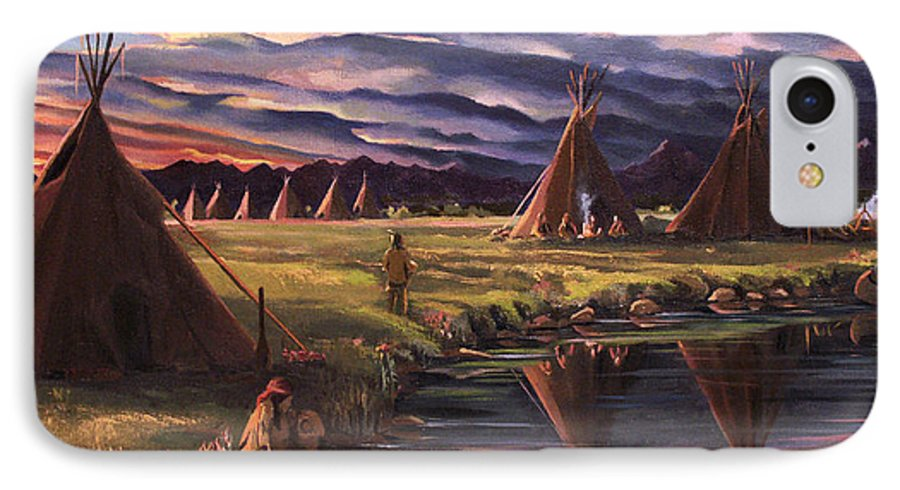 Native American IPhone 7 Case featuring the painting Encampment At Dusk by Nancy Griswold