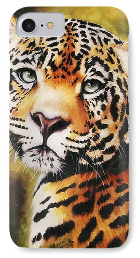Jaguar IPhone 7 Case featuring the pastel Enchantress by Barbara Keith