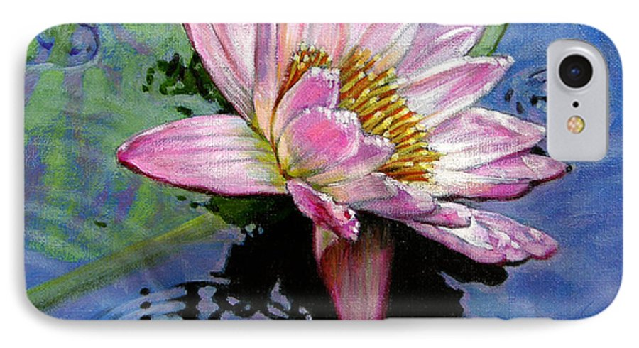 Water Lily IPhone 7 Case featuring the painting End Of Summer Shower by John Lautermilch