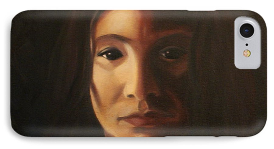 Woman In The Dark IPhone 7 Case featuring the painting Endure by Toni Berry