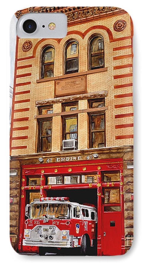 Firehouse IPhone 7 Case featuring the painting Engine Company 47 by Paul Walsh