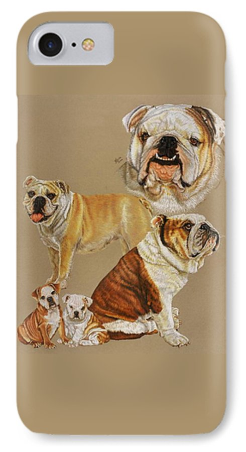 Purebred IPhone 7 Case featuring the drawing English Bulldog by Barbara Keith