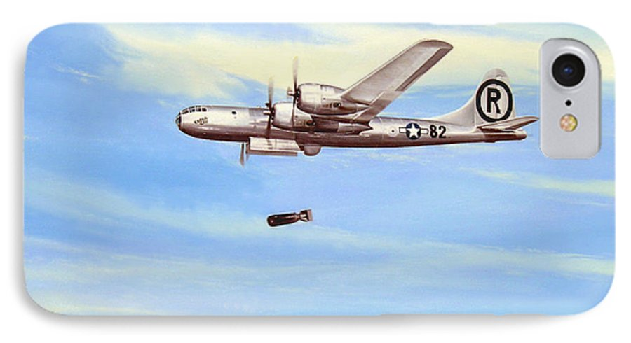 Military IPhone 7 Case featuring the painting Enola Gay by Marc Stewart