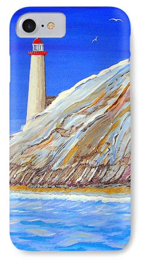 Lighthouse IPhone 7 Case featuring the painting Entering The Harbor by J R Seymour