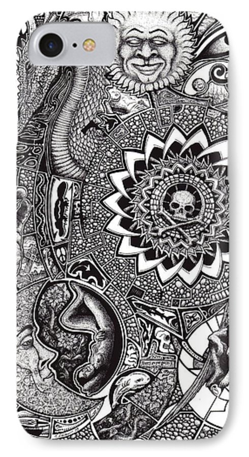 Black And White IPhone 7 Case featuring the drawing Epiphany by Tobey Anderson