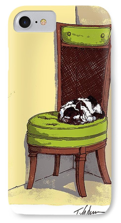 Cat IPhone 7 Case featuring the drawing Ernie And Green Chair by Tobey Anderson
