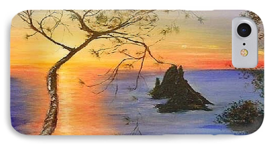 Sunset IPhone 7 Case featuring the painting Es Vedra Island Off Ibiza South Coast by Lizzy Forrester