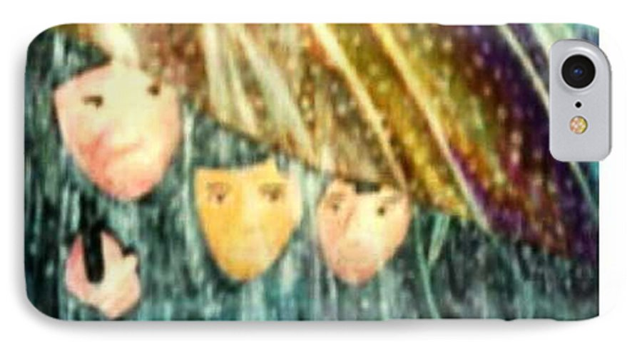 Portrait IPhone 7 Case featuring the painting Escape From The Rain by Brenda L Spencer