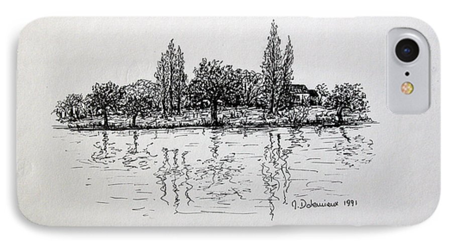 Landscape IPhone 7 Case featuring the drawing Etang by Muriel Dolemieux