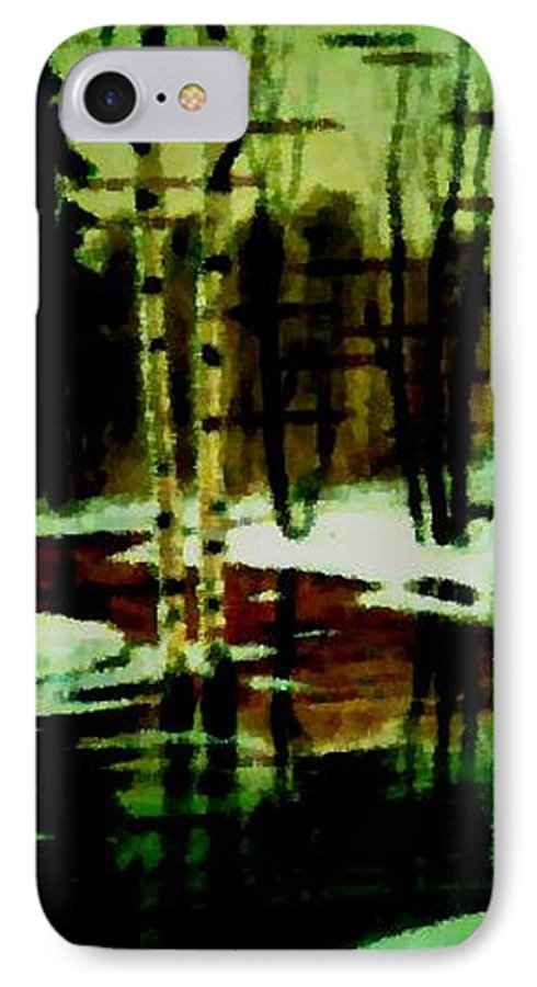 Sprig.forest.snow.water.trees.birches. Puddles.sky.reflection. IPhone 7 Case featuring the digital art European Spring by Dr Loifer Vladimir