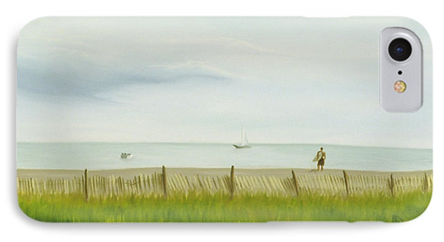 Seascape IPhone 7 Case featuring the painting Evening At Cape May by Lea Novak