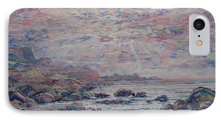 Seascape IPhone 7 Case featuring the painting Evening At The Beach by Leonard Holland