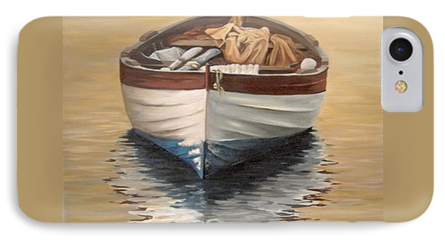 Boats Reflection Seascape Water IPhone 7 Case featuring the painting Evening Boat by Natalia Tejera