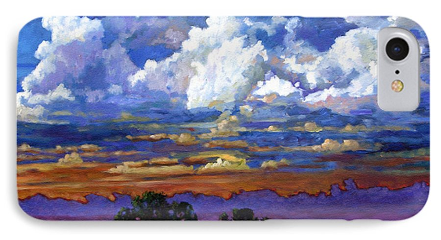Landscape IPhone 7 Case featuring the painting Evening Clouds Over The Prairie by John Lautermilch