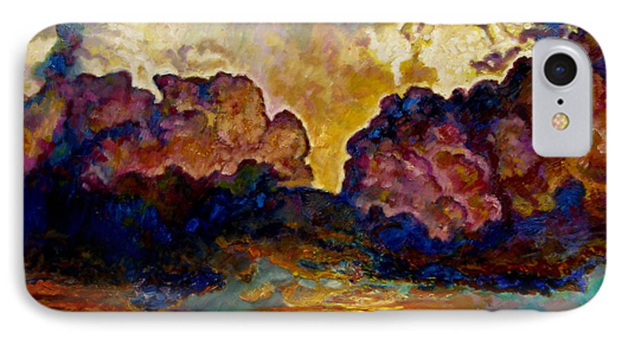 Sunset IPhone 7 Case featuring the painting Evening Clouds Over The Valley by John Lautermilch